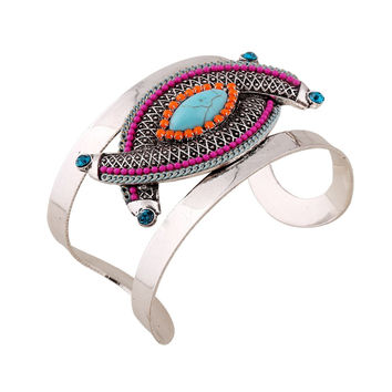 New Ethnic Style Indian Jewelry Antique Silver Big Open Cuff Bangles women turquoise Geometric Bracelets For Women Accessories