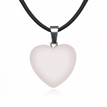 Charming Heart Quartz Pendant Necklace Fashion Jewelry Chic Rope Leather Natural Stone Point Chakra Healing Chain Necklace