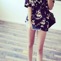 Flower and Butterfly Printed T-Shirt