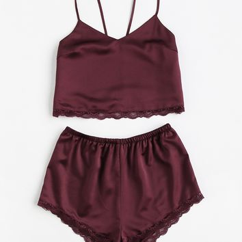 Lace Trim Satin Cami And Shorts Pajama Set BURGUNDY