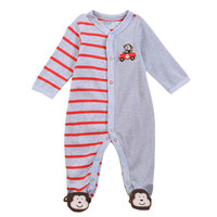 Baby Boy One-pieces Baby 100% Cotton long sleeve Bodysuit Set Monkey