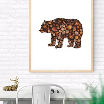 Bear Printable wall art, Bear Wood Art, Woodland Print, Nursery Wall Decor, Kids Room, Vintage Logs, Bear wood Logs Silhouette, Modern Art
