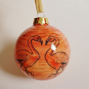 Coastal Hand Painted Ceramic Ornament Flamingos Palm Tree