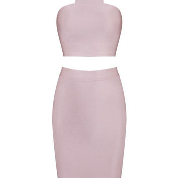 Honey Couture CHARLOTTE Pink Bandage Halterneck Crop Top & Bandage Pencil Slit Skirt Set