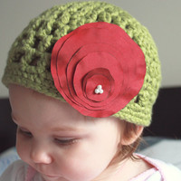 Crochet organic cotton beanie with silk handmade flower, 6-12 months,Christmas hat, holiday, dressy, green and red, can be made to order