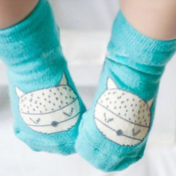 Animal Infant Baby Cute Fox Printed Cotton Soft Anti-slip Socks 0-4Y New Arrival
