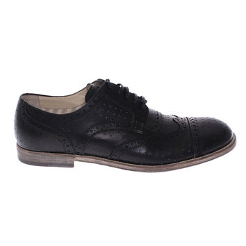 Dolce & Gabbana Black Leather Wingtip Formal Shoes