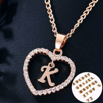 Rose Gold Letter Prints Heart Love Crystal Necklace