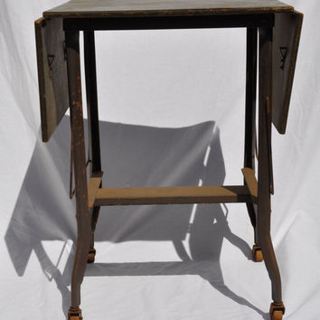 Vintage Industrial Typewriter Cart/Rolling Cart Table Retro Wooden