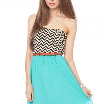 Strapless Zig Zag Sun Dress in Aqua - ShopSosie.com