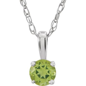 "14K White Gold Peridot 14"" Youth Necklace"