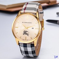 Burberry New fashion dial war horse plaid leather couple watch wristwatch 1#