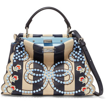 Fendi - Peekaboo mini embellished striped leather shoulder bag