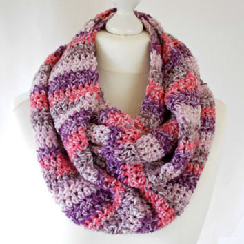 Berry Crochet Infinity Scarf Purple Grey Rose Red Lilac