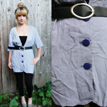 90S CHECKED SHIRT//darling 90s navy and white checked shirt ,medium