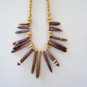 Vintage Boho Spike Necklace, Sea urchin and wood beads, natural sea stone tribal necklace, Retro 70s style, hippie, gypsy, costume jewelry
