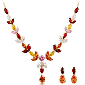 NEOGLORY Colorful Crystal Decorated Falling Leaves Design Alloy Necklace & Earrings Set