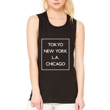 "5 Seconds of Summer 5SOS ""Money - Tokyo NY LA Chicago"" Box Muscle Tee"