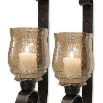 2 Candle Holders - Antiqued Bronze Base