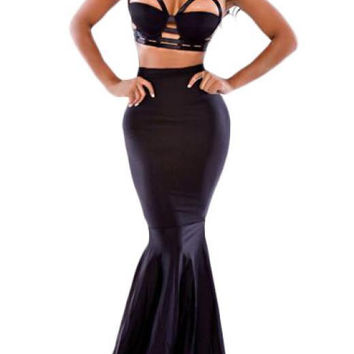 Black Strappy Crop Top and High Waist Mermaid Skirt Set