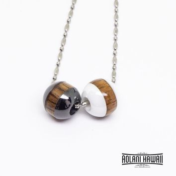 Koa Wood Cermic Beads Pendant (10x10mm, FREE Stainless Chain Included)
