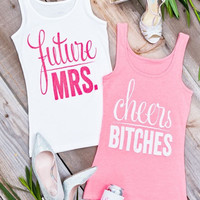 Glitter Bachelorette Party Shirts - Future Mrs. | Cheers Bitches