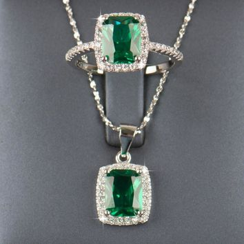Jewelry Sets RJ 925 Sterling Natural Emerald pendant wedding lace