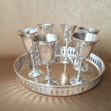 Silver Bar Set, Silver plate Cordials, Glamour Bar Set, Reticulated Tray, Etched Design, Six Silver Glasses, Retro Bar Item, Dessert Wine