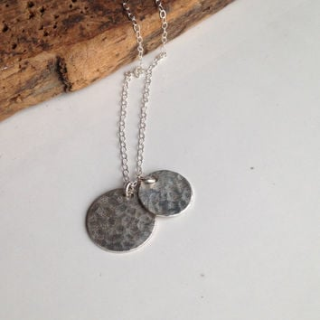 Hammered Disc Necklace, Silver Filled Discs, Hammered Necklace, Dangle Necklace, Charm Necklace, Sterling Silver Chain, Everyday Necklace