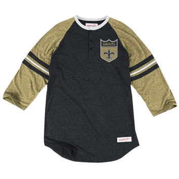 New Orleans Saints Mitchell & Ness Assistant Coach Three-Quarter Sleeve Tri-Blend Henley T-Shirt – Black