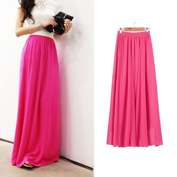 Sherhure 2019 Summer Women Maxi Skirt Two Layer Boho High Wasit Women Long Chiffon Skirt Saias Floor Length Women White Skirt