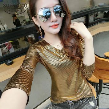 new arrived spring and summer women V collar shirt female long and short sleeved shirt tops thin bottoming D412 30