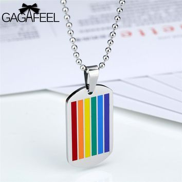 GAGAFEEL Personalized Men Rainbow Dog Tag Pendant Necklace Stainless Steel Gay And Lesbian Engrave DIY Logo Colorful Jewelry