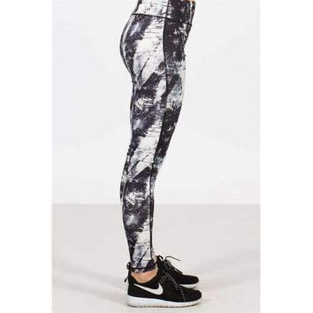 Paint Printed Athletic Leggings - S