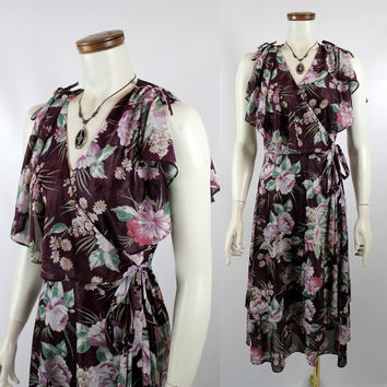 Vintage 70s - Sheer Burgundy Purple Pink Floral - Flutter Ruffle - Sleeveless - Deep V Collar - Short Wrap Dress - Disco Glam