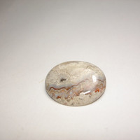 Oval Agate Cabachon Brooch / Pin Silver Tone