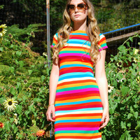 60s 70s RAINBOW Striped Dress, Body Con Knit Dress, Vintage 70s Hippie Dress, Psychedelic 60s mod Sweater dress, PRIDE Festival Dress, SMALL