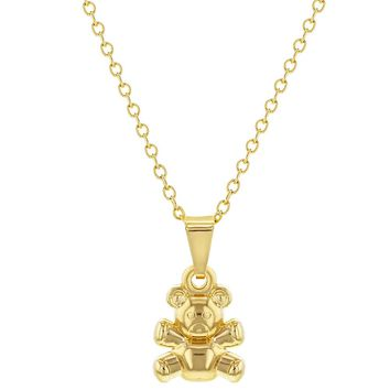 18k Gold Plated Small Teddy Bear Pendant Necklace for Girls 16""