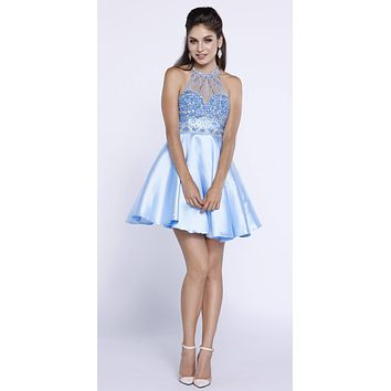 Illusion Sweetheart Neckline Halter Homecoming Short Dress Ice Blue