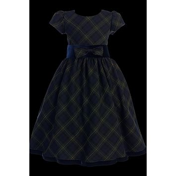 Green & Blue Plaid Christmas Holiday Dress with Black Velvet Trim 4-12