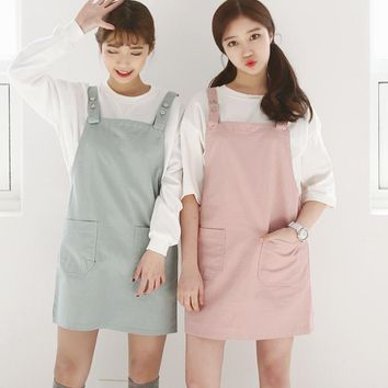 spring autumn New Hot Harajuku Kawaii College wind leisure wild candy-colored pocket strap dress women