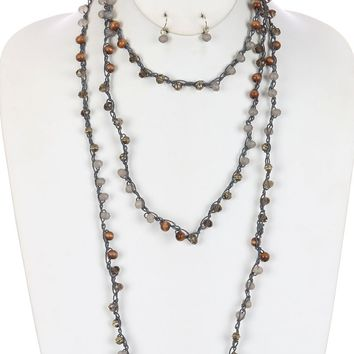 Gray Iridescent Glass Bead Extra Long Wraparound Necklace And Earring Set