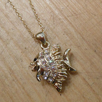 Gold Rhinestone Fish Necklace | Candy's Cottage