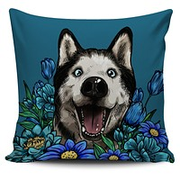 Illustrated Siberian Husky Pillow Cover