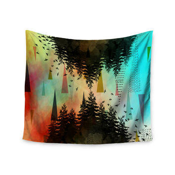 "alyZen Moonshadow ""AS ABOVE, SO BELOW (TURQUOISE)"" Orange Teal Wall Tapestry"