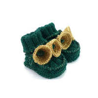 Christmas Baby Booties with Crochet Golden Bells, 3 - 6 months