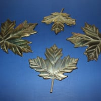 Brass leaves wall decor, brass wall hangings, fall decor, autumn decor