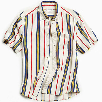 UO '90s Stripe Short Sleeve Button-Down Shirt | Urban Outfitters