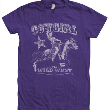 COWGIRL T shirt  Hand Screen Printed American Apparel Crew Neck Tshirt