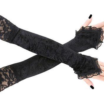 long black lace velvet fingerless gloves arm warmers gothic burlesque vintage steampunk goth bridal gloves, womens evening gloves boho 1020A